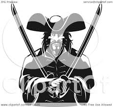 clipart of a black and white tough pirate holding swords in his