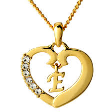 long love heart necklace images Heart necklace letter 39 e 39 18k gold plated jewelry gifts love jpg