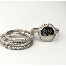 monogram rings silver sterling silver cubic zirconia stackable monogram rings our