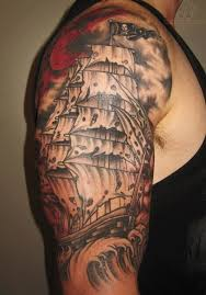 nice grey ink sunken ship half sleeve tattoo photo 3 photo