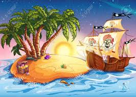 illustration of treasure island and pirate ship royalty free
