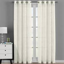 Curtain Pair Brook Embroidered Grommet Top Sheer Window Curtain Pair Set Of 2