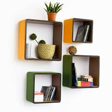 floating shelves from lowes with modern yellow and green square