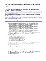 test bank international financial management 12th edition jeff