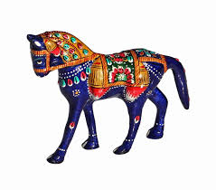 Home Decor Figurines Amazon Com Souvnear Horse Statue Hand Painted Blue Metal Small