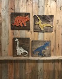 Kids Dinosaur Room Decor Dinosaur Set Sting Art Dino Decor T Rex Art Triceratops