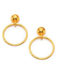 hoop la earrings lyst gurhan hoopla 24k yellow gold geometric geo drop hoop