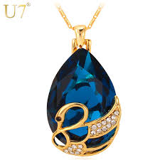 colored crystal necklace pendants images U7 big crystal swan necklaces pendants blue red stone gold color jpg