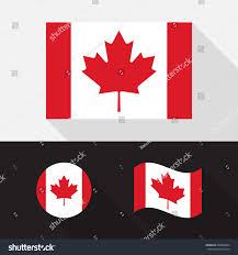 set canada flag flat design isolated stock vector 608420852