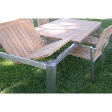 Teak And Stainless Steel Outdoor Furniture by Teak Steel Outdoor Dining Set For 6 Signature U0026 Alzette
