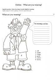 worksheet colour and describe the clown