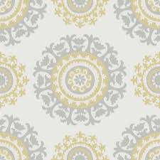 Peal And Stick Wall Paper Grey And Yellow Suzani Peel And Stick Nuwallpaper