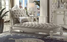 versailles traditional gray bone white pu wood chaise w 1 pillow click to enlarge click to enlarge