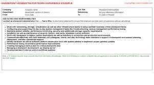 sharepoint resume sharepoint administrator title docs