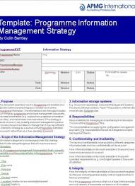 programme information management strategy template apmg business