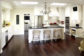 Laminate Flooring In Kitchens Black Marble Counter Top Cream Lacquered Pine Wood Kitchen Cabinet