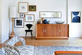 Midcentury Modern Buffet - furnitures mid century living rom with patterned sofa on fluffy