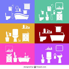 Free Bathroom Design Bathroom Designs In Different Colors Vector Free Download