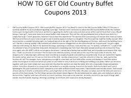 Old Country Buffet Printable Coupons by Old Country Buffet Coupons 2013 Printable Old Country Buffet Coupon U2026