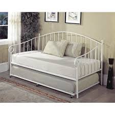 Twin Headboard Size by Twin Size White Metal Day Bed Frame With Roll Out Trundle