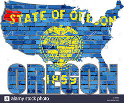 The Oregon Map by Oregon On A Brick Wall Illustration Font With The Oregon Flag
