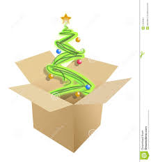 christmas tree inside a cardboard box stock images image 21225944