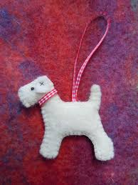 Christmas Ornaments Dogs Christmas Wire Fox Terrier Tree Decoration Felt Dog English