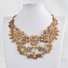fashion statement collar necklace images Vintage hollow flowers statement collar necklace gold chunky jpg