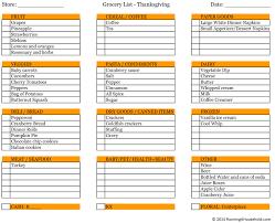 thanksgiving thanksgiving meal plan ingredient list printable