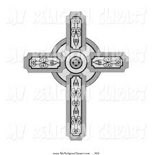 religion clip of a christian cross with ornate
