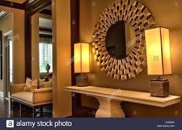 beautiful interior design in luxury upscale mirror and lamps home