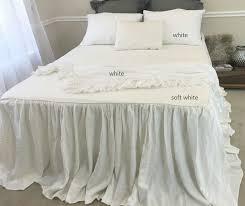White Ruffle Bed Skirt Soft White Bedspread Off White Linen Custom Size Queen King