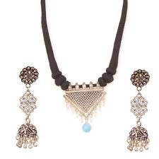 necklace set blue stone images Indian tribal banjara gypsy bohemian earring and necklace set in jpg