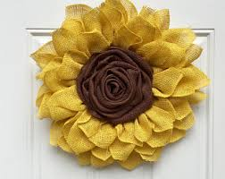 burlap sunflower wreath sunflower wreaths etsy