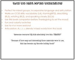the before thanksgiving speech therapy book companion