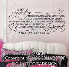 Marilyn Monroe Wall Decor Marilyn Monroe Quote Vinyl Wall Decal I U0027m Not A Perfect Vinyl