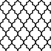 black and white fabric pattern classic white and black quatrefoil giftwrap willowlanetextiles