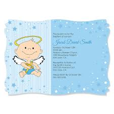 baptism invitations angel baby boy personalized baptism invitations