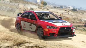 mitsubishi red mitsubishi lancer evo x fq 400 rally livery gta5 mods com