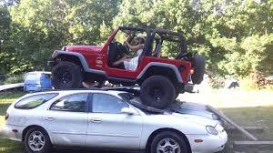 girls jeep wrangler alice felzmann u0027s jeep wrangler driving over cars youtube