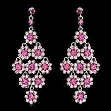 Pink Chandelier Earrings Glamorous Silver Pink Chandelier Earrings E 939