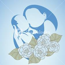 happy mothers day background with sketch of mother and her child