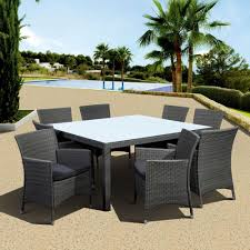 Rattan Patio Dining Set Atlantic Contemporary Lifestyle Grand New Liberty Deluxe Gray 9