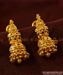 temple design gold earrings gobura jhumki south indian gold like temple design imitation ear rings