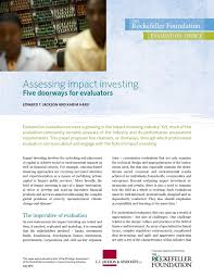 impact investing thematic briefs by rockefellerevaluation issuu
