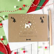 woof woof means merry christmas u0027 scottie dog card by little