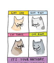 Cat Birthday Cards Birthday Card Cat One Cat Two Cat Three Cat Four It S