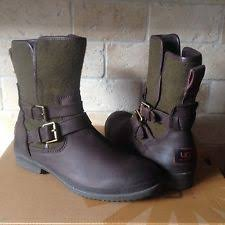 ugg australia womens emalie brown stout leather ankle boot 7 ebay ugg zea womens 1008018 stt stout waterproof leather wedge ankle