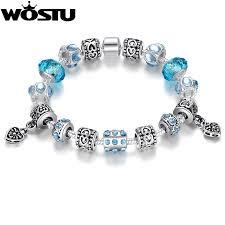 murano glass beads charm bracelet images Bamoer hot sell european style silver crystal charm bracelet for jpg