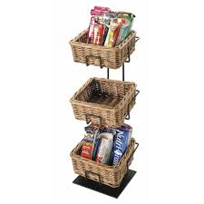 black wire 3 tier stand with wicker baskets 6